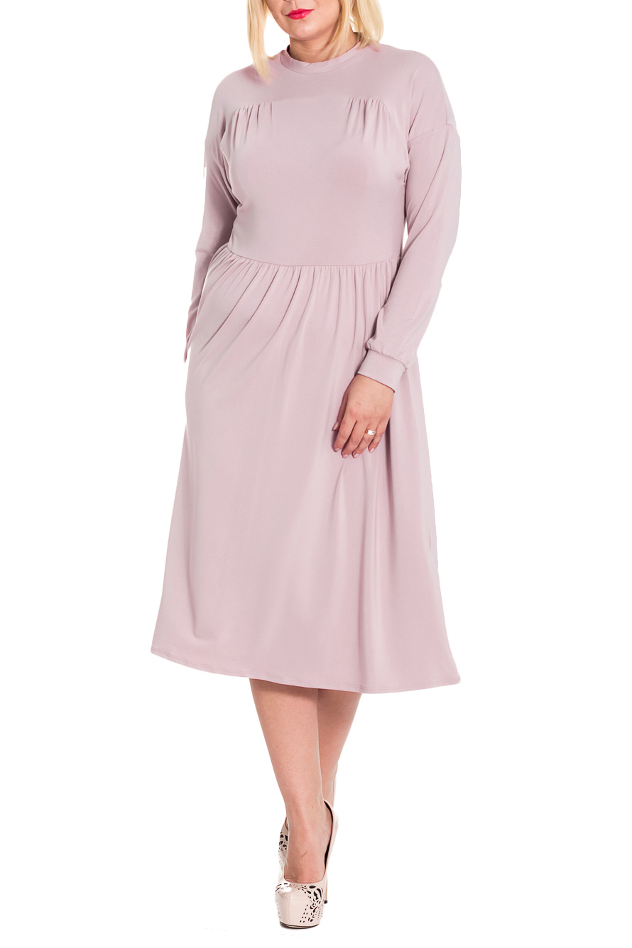 ПлатьеПлатья<br>Элегантное и женственное платье, которое подойдет любому типу фигуры, выполненное из приятного телу трикотажа.  Платье приталенного силуэта, отрезное по линии талии с резинкой. На передней части изделия кокетка, на центральной части сборка. На спинке средний шов. Воротник стойка. Рукав рубашечный, длинный, с притачной манжетой.  Цвет: приглушенный розовый.  Длина рукава (от конечной плечевой точки) - 60 ± 1 см  Рост девушки-фотомодели 170 см  Длина изделия - 119 ± 2 см<br><br>Воротник: Стойка<br>По длине: Миди,Ниже колена<br>По материалу: Трикотаж<br>По рисунку: Однотонные<br>По сезону: Зима,Осень,Весна<br>По силуэту: Полуприталенные,Приталенные<br>По стилю: Повседневный стиль,Романтический стиль<br>По форме: Платье - трапеция<br>По элементам: С декором,С манжетами,Со складками<br>Рукав: Длинный рукав<br>Размер : 46,48,50<br>Материал: Холодное масло<br>Количество в наличии: 12