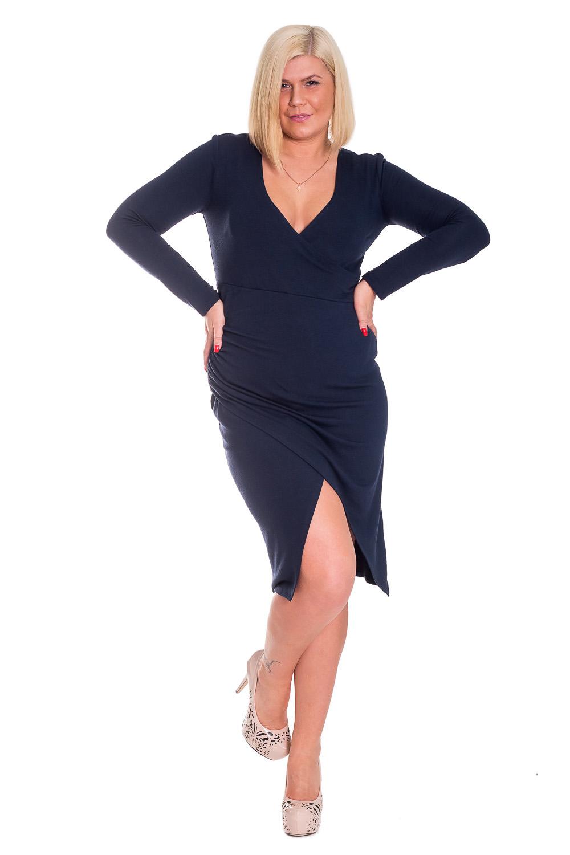 ПлатьеПлатья<br>Изысканное, женственное платье приталенного силуэта на запах. На передней части изделия рез под грудью и сборка по правому боковому шву. На спинке средний шов. Горловина на запах. Рукав втачной, длинный. Цвет: темно-синий.  Длина рукава - 61 ± 1 см  Рост девушки-фотомодели 170 см  Длина изделия - 106 ± 2 см<br><br>По образу: Свидание,Город<br>По стилю: Готический стиль,Повседневный стиль<br>По материалу: Трикотаж<br>По рисунку: Однотонные<br>По сезону: Весна,Зима,Осень<br>По силуэту: Приталенные<br>По элементам: С вырезом,С декором,С завышенной талией,С разрезом,Со складками<br>По форме: Платье - футляр<br>По длине: До колена,Ниже колена<br>Рукав: Длинный рукав<br>Горловина: V- горловина,Запах<br>Разрез: Длинный<br>Размер: 50,52,54,56,44,46,48<br>Материал: 95% полиэстер 5% спандекс<br>Количество в наличии: 5