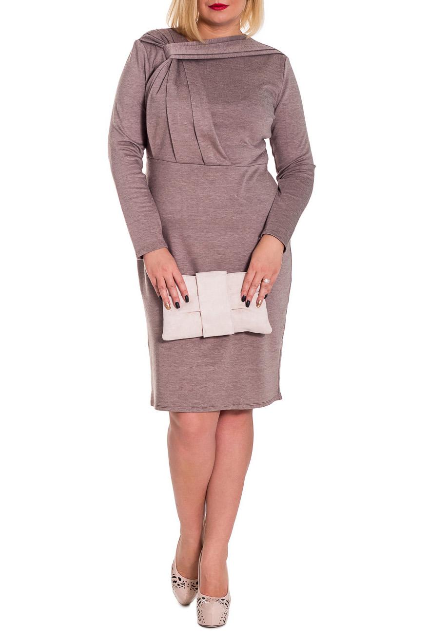 ПлатьеПлатья<br>Оригинальное платье приталенного силуэта, отрезное по линии талии. На передней части изделия декоративные драпировки. На спинке средний шов и разрез. Рукав втачной, длинный. Цвет: темно-бежевый в мелкую полоску.  Длина рукава - 59 ± 1 см  Рост девушки-фотомодели 170 см  Длина изделия: 46 размер - 103 ± 2 см 48 размер - 103 ± 2 см 50 размер - 103 ± 2 см 52 размер - 103 ± 2 см 54 размер - 106 ± 2 см 56 размер - 106 ± 2 см 58 размер - 106 ± 2 см<br><br>По длине: Ниже колена<br>По материалу: Трикотаж,Хлопок<br>По рисунку: Однотонные<br>По силуэту: Полуприталенные,Приталенные<br>По стилю: Офисный стиль,Повседневный стиль<br>По форме: Платье - футляр<br>По элементам: С декором,С разрезом,Со складками<br>Разрез: Короткий<br>Рукав: Длинный рукав<br>По сезону: Зима<br>Горловина: Фигурная горловина<br>Размер : 48,50<br>Материал: Джерси<br>Количество в наличии: 2