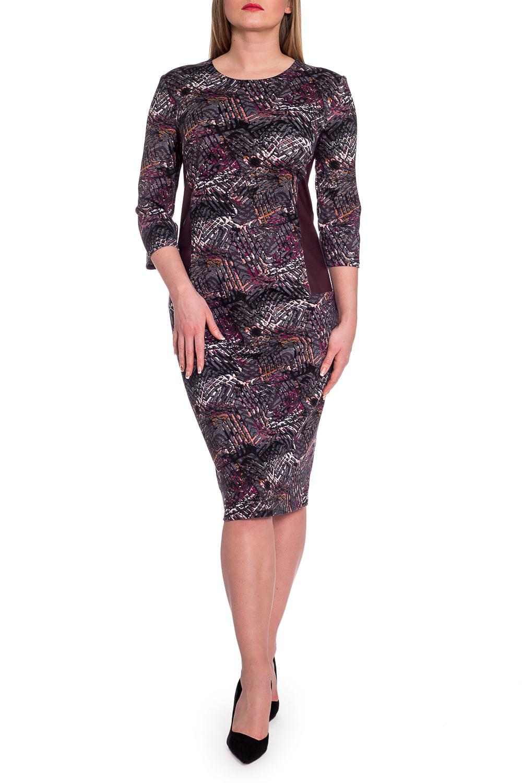 ПлатьеПлатья<br>Стильное и женственное платье - настоящая находка для осени или весны.  Платье полуприлегающего силуэта, с кожаными отрезными бочками. На спинке средний шов и разрез. Рукав втачной, 3/4.  В изделии использованы цвета: черный, серый, бордовый и др.  Длина рукава - 46 ± 1 см  Рост девушки-фотомодели 170 см  Длина изделия: 46 размер - 104 ± 2 см 48 размер - 104 ± 2 см 50 размер - 104 ± 2 см 52 размер - 104 ± 2 см 54 размер - 107 ± 2 см 56 размер - 107 ± 2 см 58 размер - 107 ± 2 см<br><br>Горловина: С- горловина<br>По длине: Ниже колена<br>По материалу: Трикотаж<br>По рисунку: Абстракция,С принтом,Цветные<br>По силуэту: Приталенные<br>По стилю: Кэжуал,Повседневный стиль<br>По форме: Платье - карандаш,Платье - футляр<br>По элементам: С кожаными вставками,С разрезом<br>Разрез: Короткий<br>Рукав: Рукав три четверти<br>По сезону: Осень,Весна<br>Размер : 48,50,52,54,56,58<br>Материал: Трикотаж + Искусственная кожа<br>Количество в наличии: 22