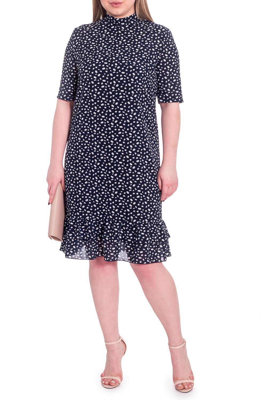 ПлатьеПлатья<br>Это прелестное женское платье от наших дизайнеров - нотка юута в вашем гардеробе. Эта модель выручит в любой ситуации  Платье полуприлегающего силуэта с двойной рюшей по низу изделия. С отдельным подкладом. На спинке средний шов с молнией. Воротник quot;стойкаquot;. Рукав втачной, до локтя.  В изделии использованы цвета: темно-синий, белый и др.  Длина рукава - 31 ± 1 см  Рост девушки-фотомодели 170 см  Длина изделия: 46 размер - 105 ± 2 см 48 размер - 105 ± 2 см 50 размер - 105 ± 2 см 52 размер - 105 ± 2 см 54 размер - 107 ± 2 см 56 размер - 107 ± 2 см 58 размер - 107 ± 2 см<br><br>Воротник: Стойка<br>По длине: Ниже колена<br>По материалу: Тканевые<br>По рисунку: Растительные мотивы,С принтом,Цветные,Цветочные<br>По силуэту: Полуприталенные<br>По стилю: Повседневный стиль,Романтический стиль<br>По элементам: С воланами и рюшами,С воротником,С декором,С молнией,С подкладом,С фигурным низом<br>Рукав: До локтя<br>По сезону: Осень,Весна<br>Размер : 48,50,52,54,56,58<br>Материал: Плательно-блузочная ткань<br>Количество в наличии: 27