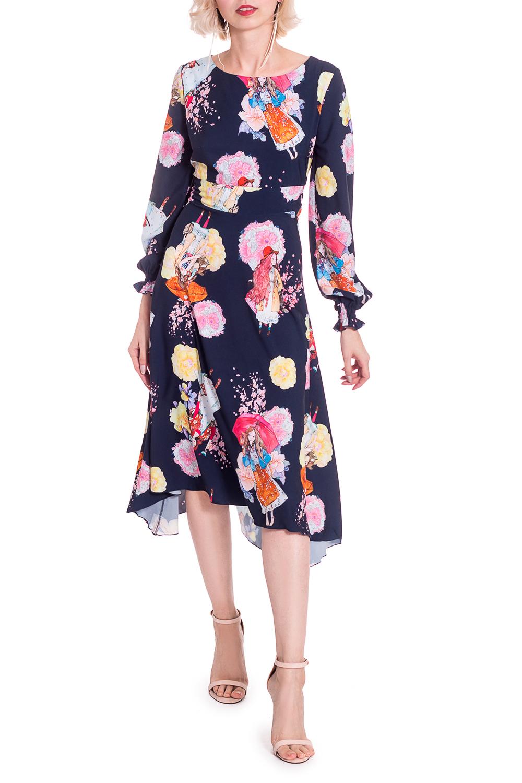 ПлатьеПлатья<br>Это очаровательное платье придаст гардеробу новое дыхание! Благодаря лаконичному фасону, эта модель легко подойдет к другим предметам гардероба и позволит создавать стильные образы.Платье приталенного силуэта с втачным поясом выше линии талии. Фигурный низ. На спинке средний шов с молнией. Горловина обработана обтачкой. Рукав втачной, длинный, с резинками по низу.В изделии использованы цвета: темно-синий, розовый и др.Длина рукава - 62 ± 1 смРост девушки-фотомодели 164 смДлина изделия:40 размер - 102 ± 2 см42 размер - 102 ± 2 см44 размер - 102 ± 2 см46 размер - 102 ± 2 см48 размер - 104 ± 2 см50 размер - 104 ± 2 см52 размер - 104 ± 2 см<br><br>Горловина: С- горловина<br>Рукав: Длинный рукав<br>Длина: Ниже колена<br>Материал: Тканевые<br>Рисунок: С принтом,Цветные<br>Сезон: Весна,Осень<br>Силуэт: Приталенные<br>Стиль: Молодежный стиль,Повседневный стиль,Романтический стиль<br>Форма: Платье - трапеция<br>Элементы: С декором,С завышенной талией,С молнией,С фигурным низом<br>Размер : 42,44,46<br>Материал: Плательная ткань<br>Количество в наличии: 9