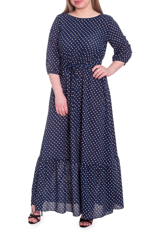 ПлатьеПлатья<br>Роскошное платье сделает Вас центром внимания благодаря женственной расцветке и прилегающему силуэту.  Платье приталенного силуэта, отрезное по линии талии с резинкой и съемным поясом. По низу широкий волан, юбка с подкладом. На спинке средний шов. Горловина окантована. Рукав втачной, 3/4, с резинкой по низу.  В изделии использованы цвета: темно-синий и др.  Длина рукава (от конечной плечевой точки) - 42 ± 1 см  Рост девушки-фотомодели 170 см  Длина изделия - 147 ± 2 см<br><br>Горловина: Фигурная горловина<br>По длине: Макси<br>По материалу: Тканевые<br>По рисунку: С принтом,Цветные<br>По сезону: Весна,Зима,Осень,Всесезон<br>По силуэту: Приталенные<br>По стилю: Нарядный стиль,Повседневный стиль,Романтический стиль<br>По форме: Платье - трапеция<br>По элементам: С подкладом,С поясом<br>Рукав: Рукав три четверти<br>Размер : 56<br>Материал: Плательно-блузочная ткань<br>Количество в наличии: 1