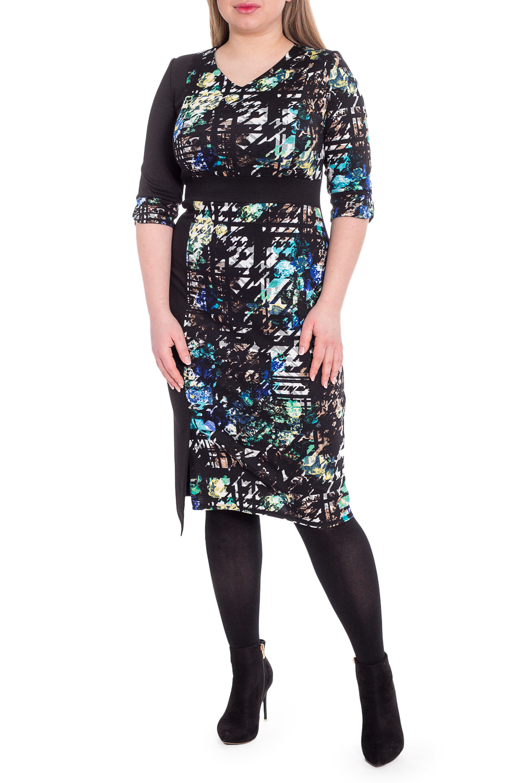 ПлатьеПлатья<br>В чем заключается секрет успешных женщин В платьях футлярного кроя, которые идеально формируют фигуру  Платье приталенного силуэта. На передней части изделия втачной пояс, рельефы на лифе и рельеф на юбке со шлицей. На спинке средний шов. Горловина обработана обтачкой. Рукав втачной, 3/4, с притачной, фигурной манжетой.  В изделии использованы цвета: черный, белый и др.  Длина рукава - 40 ± 1 см  Рост девушки-фотомодели 170 см  Длина изделия: 46 размер - 103 ± 2 см 48 размер - 103 ± 2 см 50 размер - 103 ± 2 см 52 размер - 103 ± 2 см 54 размер - 107 ± 2 см 56 размер - 107 ± 2 см 58 размер - 107 ± 2 см<br><br>Горловина: V- горловина<br>По длине: Ниже колена<br>По материалу: Трикотаж<br>По рисунку: Абстракция,С принтом,Цветные<br>По силуэту: Приталенные<br>По стилю: Кэжуал,Повседневный стиль<br>По форме: Платье - футляр<br>По элементам: С завышенной талией,С манжетами,С разрезом,С фигурным низом<br>Разрез: Шлица<br>По сезону: Осень,Весна<br>Размер : 48,50,52,54,56<br>Материал: Трикотаж<br>Количество в наличии: 15