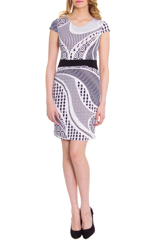 ПлатьеПлатья<br>Платье прилегающего силуэта, отрезное по линии талии с декоративным втачным поясом контрастного цвета. Горловина V- образная на обтачке. Рукав короткий, крылышко.  Цвет: черно-белый узор.  Длина рукава - 9 ± 2 см  Рост девушки-фотомодели 176 см  Длина изделия:  44 размер - 94 ± 2 см 46 размер - 96 ± 2 см 48 размер - 98 ± 2 см 50 размер - 100 ± 2 см 52 размер - 102 ± 2 см<br><br>Горловина: V- горловина<br>По материалу: Вискоза,Трикотаж<br>По рисунку: Абстракция,Цветные,С принтом,В полоску<br>По сезону: Лето<br>Рукав: Короткий рукав<br>По форме: Платье - футляр<br>По стилю: Летний стиль,Повседневный стиль<br>По длине: До колена<br>По силуэту: Приталенные<br>Размер : 44<br>Материал: Вискоза<br>Количество в наличии: 6