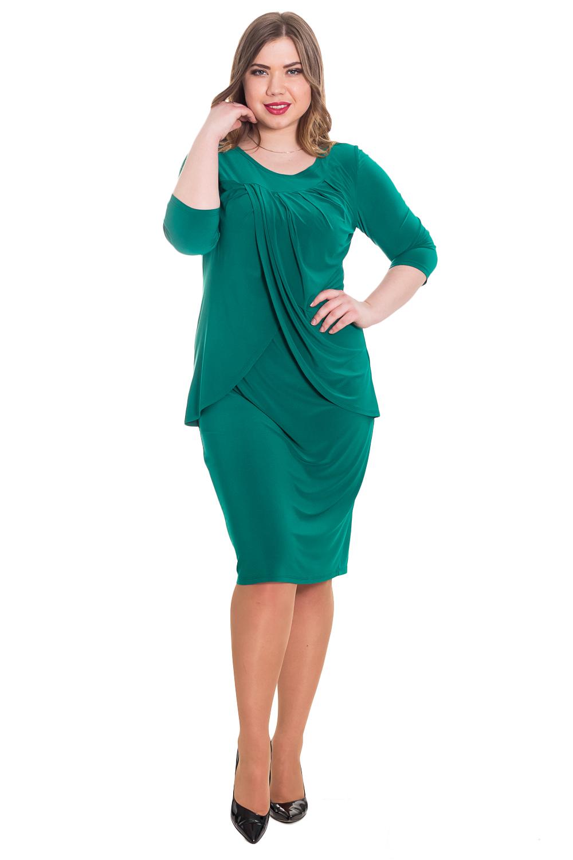 ПлатьеПлатья<br>Элегантное и женственное платье, которое подойдет любому типу фигуры, выполненное из приятного телу трикотажа.  Платье полуприлегающего силуэта. На передней части изделия кокетка и две отлетные детали с драпировкой. На спинке средний шов и разрез. Горловина круглая. Рукав втачной, 3/4.  Цвет: изумруд.  Длина рукава - 43 ± 1 см  Рост девушки-фотомодели 170 см  Длина изделия - 106 ± 2 см<br><br>По образу: Свидание,Город,Офис<br>По стилю: Повседневный стиль<br>По материалу: Трикотаж<br>По рисунку: Однотонные<br>По сезону: Осень,Весна<br>По силуэту: Полуприталенные<br>По элементам: С декором,С разрезом,Со складками<br>По форме: Платье - футляр<br>По длине: Ниже колена<br>Рукав: Рукав три четверти<br>Горловина: С- горловина<br>Разрез: Короткий<br>Размер: 50,52,54,56,58,46,48<br>Материал: 95% полиэстер 5% спандекс<br>Количество в наличии: 3