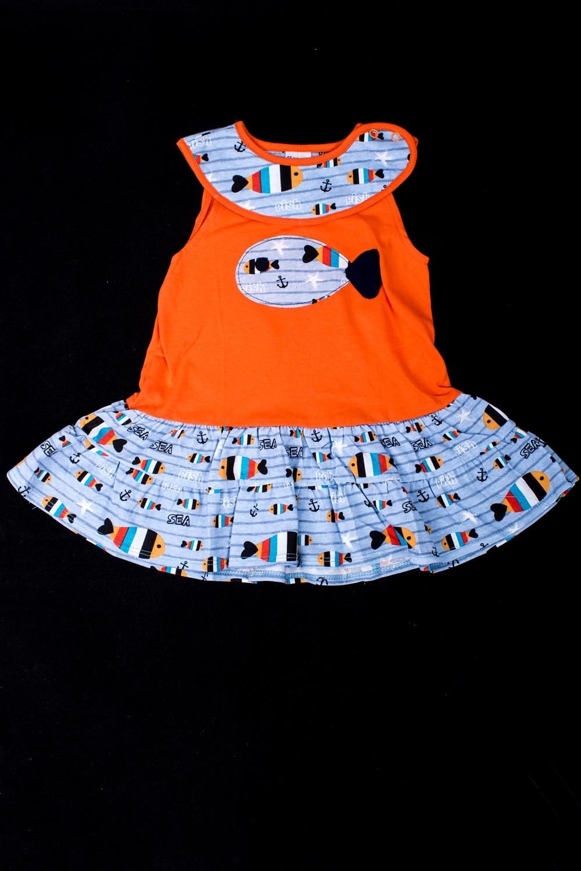ПлатьеПлатья<br>Хлопковое платье для девочки  В изделии использованы цвета: оранжевый, голубой и др.  Размер 74 соответствует росту 70-73 см Размер 80 соответствует росту 74-80 см Размер 86 соответствует росту 81-86 см Размер 92 соответствует росту 87-92 см Размер 98 соответствует росту 93-98 см Размер 104 соответствует росту 98-104 см Размер 110 соответствует росту 105-110 см Размер 116 соответствует росту 111-116 см Размер 122 соответствует росту 117-122 см Размер 128 соответствует росту 123-128 см Размер 134 соответствует росту 129-134 см Размер 140 соответствует росту 135-140 см Размер 146 соответствует росту 141-146 см Размер 152 соответствует росту 147-152 см Размер 158 соответствует росту 153-158 см Размер 164 соответствует росту 159-164 см<br><br>Горловина: С- горловина<br>По материалу: Трикотажные,Хлопковые<br>По образу: Повседневные,Уличные<br>По рисунку: С принтом (печатью),Цветные<br>По силуэту: Полуприталенные<br>По стилю: Летние,Повседневные<br>По элементам: Без рукавов<br>По сезону: Лето<br>По возрасту: Ясельные ( от 1 до 3 лет)<br>Размер : 74,80,86,92,98<br>Материал: Трикотаж<br>Количество в наличии: 7