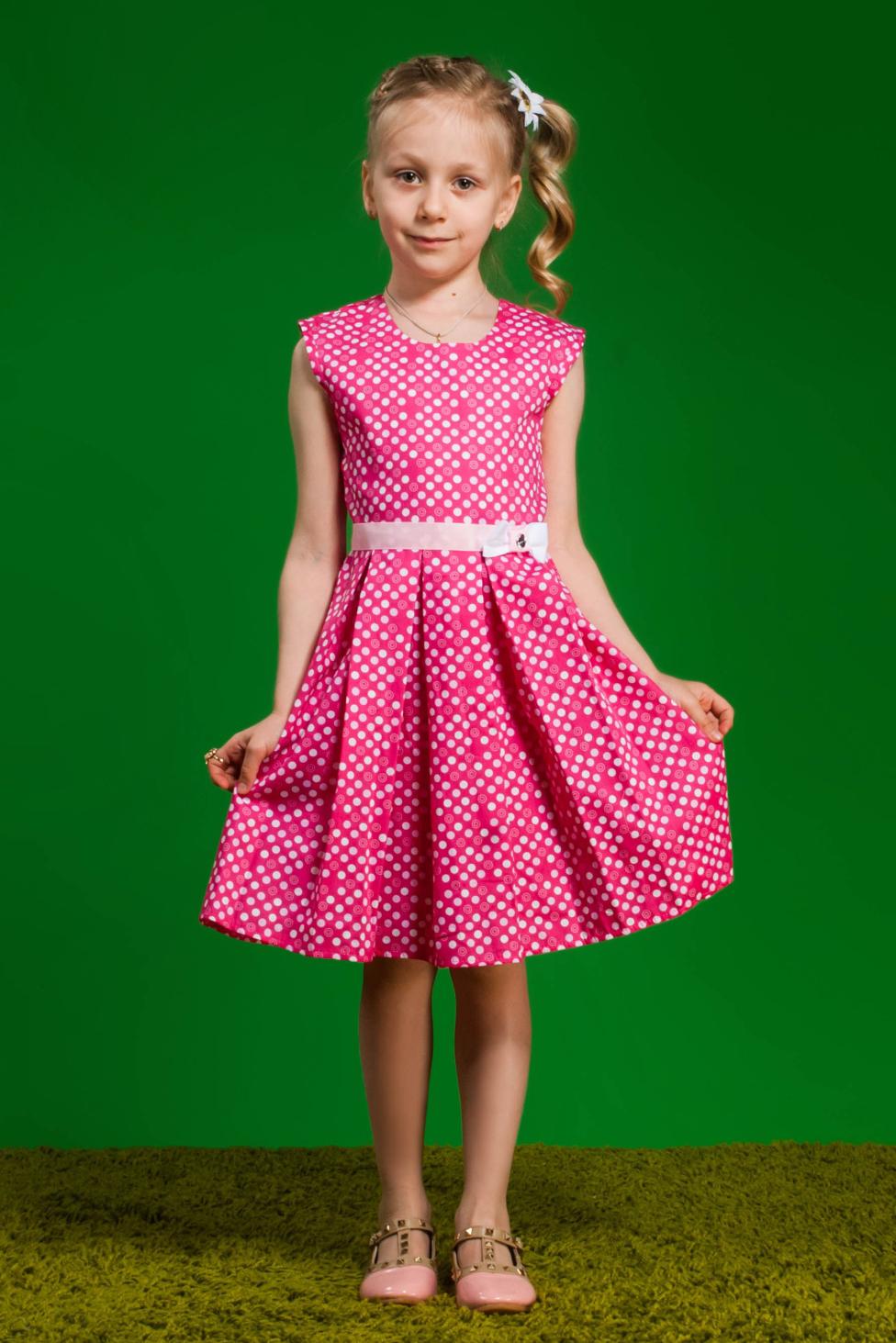 ПлатьеПлатья<br>Платье из натурального хлопка без подклады. По юбке заложины симметричные спереди и сзади складки. По объему регулируется поясом из репсовой ленты с бантом ручной работы, по центру которого крупная страза.В изделии использованы цвета: розовый, белыйРазмер 74 соответствует росту 70-73 смРазмер 80 соответствует росту 74-80 смРазмер 86 соответствует росту 81-86 смРазмер 92 соответствует росту 87-92 смРазмер 98 соответствует росту 93-98 смРазмер 104 соответствует росту 98-104 смРазмер 110 соответствует росту 105-110 смРазмер 116 соответствует росту 111-116 смРазмер 122 соответствует росту 117-122 смРазмер 128 соответствует росту 123-128 смРазмер 134 соответствует росту 129-134 смРазмер 140 соответствует росту 135-140 смРазмер 146 соответствует росту 141-146 смРазмер 152 соответствует росту 147-152 смРазмер 158 соответствует росту 153-158 смРазмер 164 соответствует росту 159-164 смРазмер 170 соответствует росту 165-170 см<br><br>Горловина: С- горловина<br>Возраст: Ясельные ( от 1 до 3 лет),Дошкольные ( от 3 до 7 лет),Школьные ( от 7 до 13 лет)<br>Длина: Миди<br>Материал: Трикотажные,Хлопковые<br>Образ: Повседневные,Уличные<br>Рисунок: В горошек,С принтом (печатью),Цветные<br>Сезон: Зима,Осень,Весна<br>Силуэт: Полуприталенные<br>Стиль: Летние,Нарядные,Повседневные<br>Форма: Трапеция<br>Элементы: Без рукавов,С декором,С поясом<br>Размер : 104,116,122,134,140,146,98<br>Материал: Хлопок<br>Количество в наличии: 7