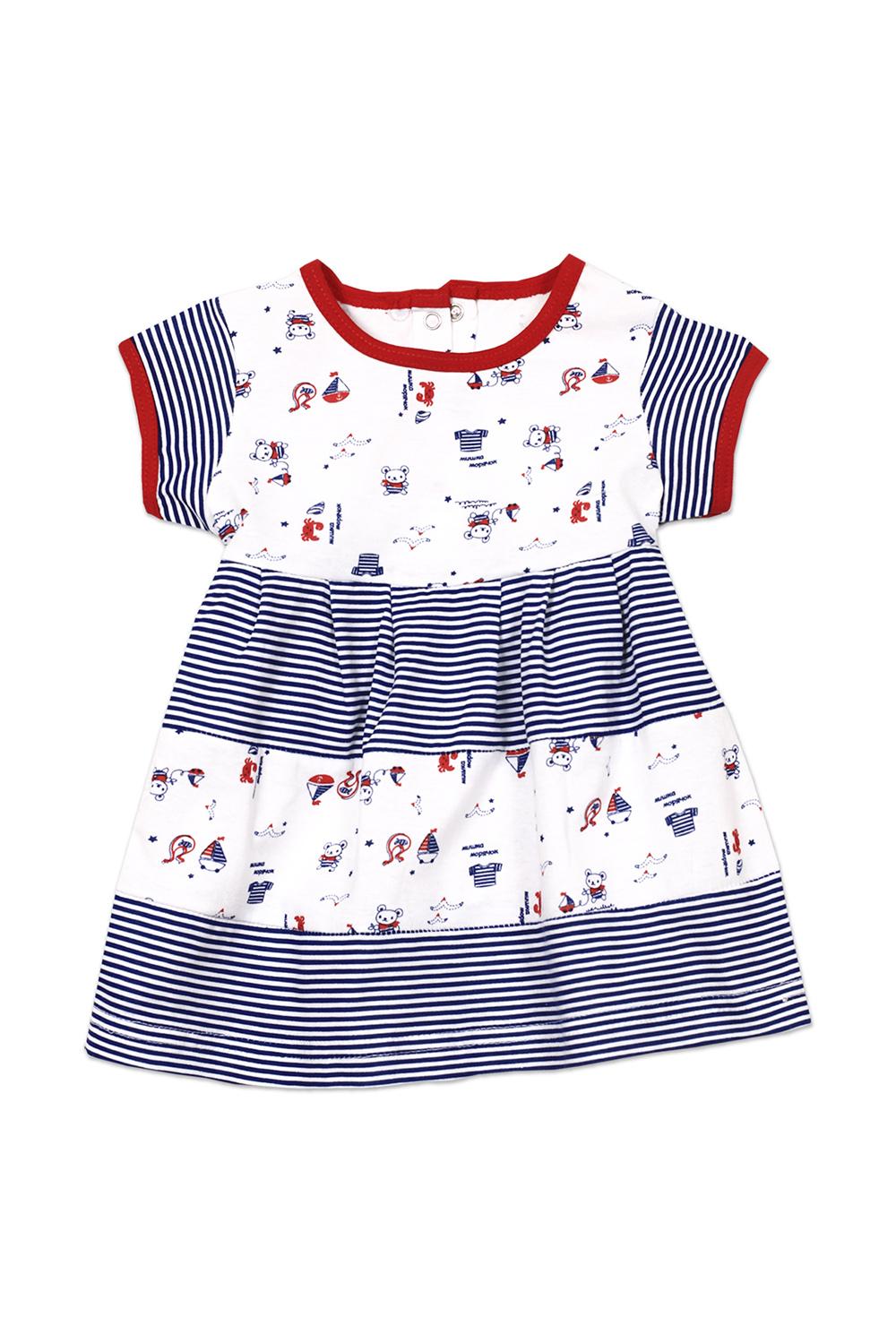 ПлатьеПлатья<br>Трикотажное платье для девочки.   В изделии использованы цвета: синий, белый, красный и др.   Размер соответствует росту ребенка<br><br>Воротник: Отложной<br>Горловина: С- горловина<br>По возрасту: Ясельные ( от 1 до 3 лет)<br>По длине: Миди<br>По материалу: Трикотажные,Хлопковые<br>По образу: Повседневные<br>По рисунку: С принтом (печатью),Цветные<br>По силуэту: Полуприталенные<br>По стилю: Повседневные<br>По форме: Трапеция<br>Рукав: Короткий рукав<br>По сезону: Лето<br>Размер : 62,68<br>Материал: Трикотаж<br>Количество в наличии: 4