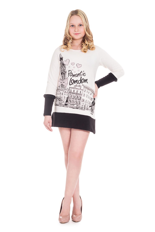 ПлатьеПлатья<br>Эффектное трикотажное платье для девочки. Подарите Вашему ребенку чувство комфорта и стиля. Утепленный трикотаж футер. Ориентировочный возраст 10-12 лет.  Рост дувушки-фотомодели 155 см, просим обратить внимание, что платье будет длиной ниже, чем на фото.  Цвет: белый, черный.  Размер 74 соответствует росту 70-73 см Размер 80 соответствует росту 74-80 см Размер 86 соответствует росту 81-86 см Размер 92 соответствует росту 87-92 см Размер 98 соответствует росту 93-98 см Размер 104 соответствует росту 98-104 см Размер 110 соответствует росту 105-110 см Размер 116 соответствует росту 111-116 см Размер 122 соответствует росту 117-122 см Размер 128 соответствует росту 123-128 см Размер 134 соответствует росту 129-134 см Размер 140 соответствует росту 135-140 см Размер 146 соответствует росту 141-146 см Размер 152 соответствует росту 147-152 см Размер 158 соответствует росту 153-158 см Размер 164 соответствует росту 159-164 см<br><br>По образу: Повседневные,Униформа<br>По стилю: Классические<br>По материалу: Трикотажные,Хлопковые<br>По рисунку: С принтом (печатью),Цветные<br>По сезону: Осень,Весна,Зима<br>По силуэту: Приталенные<br>По элементам: С декором,С фигурным низом<br>По длине: Мини<br>Рукав: Длинный рукав,С манжетой<br>Горловина: С- горловина<br>По возрасту: Школьные ( от 7 до 13 лет)<br>Размер: 152<br>Материал: 95% хлопок 5% эластан<br>Количество в наличии: 1
