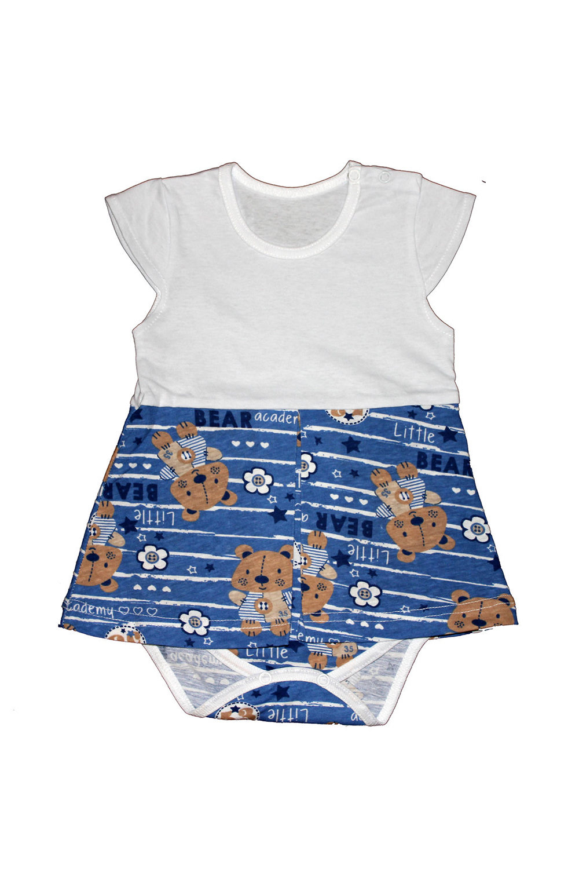 Платье-бодиКофточки<br>Хлопковое боди для новорожденного  В изделии использованы цвета: белый, синий, коричневый  Размер соответствует росту ребенка<br><br>По сезону: Всесезон<br>Размер : 74,80<br>Материал: Хлопок<br>Количество в наличии: 4
