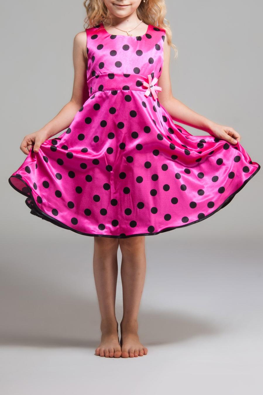 ПлатьеПлатья<br>Платье выполнено из стрейч-атласа, подклад из полиэстера, объем придает фатин, настроченный по низу подклады. Украшение в виде цветка ручной работы из ленточек в тон платью, в центре украшенного стразой.  В изделии использованы цвета: розовый, черный  Размер 74 соответствует росту 70-73 см Размер 80 соответствует росту 74-80 см Размер 86 соответствует росту 81-86 см Размер 92 соответствует росту 87-92 см Размер 98 соответствует росту 93-98 см Размер 104 соответствует росту 98-104 см Размер 110 соответствует росту 105-110 см Размер 116 соответствует росту 111-116 см Размер 122 соответствует росту 117-122 см Размер 128 соответствует росту 123-128 см Размер 134 соответствует росту 129-134 см Размер 140 соответствует росту 135-140 см Размер 146 соответствует росту 141-146 см Размер 152 соответствует росту 147-152 см Размер 158 соответствует росту 153-158 см Размер 164 соответствует росту 159-164 см Размер 170 соответствует росту 165-170 см<br><br>Горловина: С- горловина<br>По возрасту: Дошкольные ( от 3 до 7 лет),Школьные ( от 7 до 13 лет)<br>По длине: Миди<br>По материалу: Атласные<br>По образу: Выпускной,Торжество<br>По рисунку: В горошек,С принтом (печатью),Цветные<br>По сезону: Весна,Зима,Лето,Осень,Всесезон<br>По силуэту: Приталенные<br>По стилю: Летние,На выпускной,Нарядные<br>По форме: Трапеция,С завышенной талией<br>По элементам: Без рукавов,С декором<br>Размер : 122,134,140,146<br>Материал: Атлас<br>Количество в наличии: 4