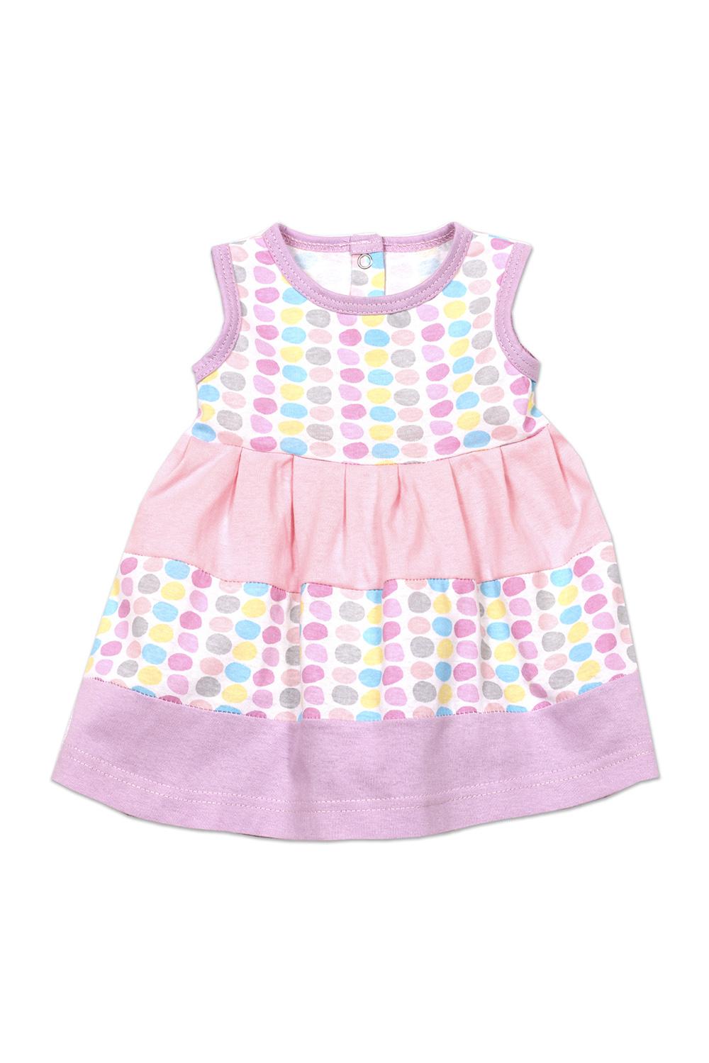 ПлатьеСарафаны<br>Трикотажное платье для девочки.  В изделии использованы цвета: розовый и др.   Размер соответствует росту ребенка<br><br>Бретели: Широкие бретели<br>Горловина: С- горловина<br>По возрасту: Ясельные ( от 1 до 3 лет)<br>По длине: Миди<br>По материалу: Трикотажные,Хлопковые<br>По образу: Повседневные<br>По рисунку: В горошек,С принтом (печатью),Цветные<br>По силуэту: Полуприталенные<br>По стилю: Летние,Повседневные<br>По элементам: Без рукавов<br>По сезону: Лето<br>Размер : 62,68<br>Материал: Трикотаж<br>Количество в наличии: 6