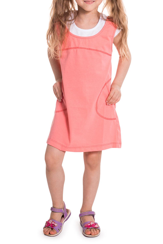 ПлатьеПлатья<br>Повседневное платье для девочки, без рукавов. Платье выполнено в комбинации двух расцветок, имитирующих сарафан и футболку.  Цвет: коралловый, белый.  Размер 74 соответствует росту 70-73 см Размер 80 соответствует росту 74-80 см Размер 86 соответствует росту 81-86 см Размер 92 соответствует росту 87-92 см Размер 98 соответствует росту 93-98 см Размер 104 соответствует росту 98-104 см Размер 110 соответствует росту 105-110 см Размер 116 соответствует росту 111-116 см Размер 122 соответствует росту 117-122 см Размер 128 соответствует росту 123-128 см Размер 134 соответствует росту 129-134 см Размер 140 соответствует росту 135-140 см Размер 146 соответствует росту 141-146 см Размер 152 соответствует росту 147-152 см<br><br>Горловина: С- горловина<br>По возрасту: Дошкольные ( от 3 до 7 лет)<br>По материалу: Трикотажные,Хлопковые<br>По образу: Пляж,Повседневные,Уличные<br>По рисунку: Однотонные<br>По силуэту: Полуприталенные<br>По стилю: Летние<br>По элементам: Без рукавов,С декором<br>По сезону: Лето<br>Размер : 98<br>Материал: Трикотаж<br>Количество в наличии: 1