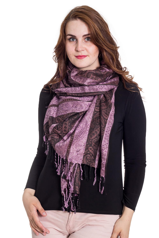 ПалантинПалантины<br>Палантин является незаменимым аксессуаром в гардеробе. Он способен защитить от холода или просто внести в образ законченность и некую изюминку.  Размер: 70*200 см.  Цвет: коричневый, фиолетовый<br><br>По сезону: Осень,Весна<br>Размер : 70*195<br>Материал: Вискоза<br>Количество в наличии: 1