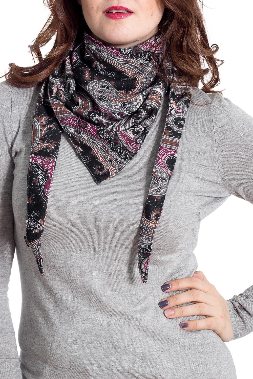 Шарф-бактусШарфы<br>Бактус – это оригинальный шарф, в виде  треугольника. Он является настоящей находкой для любителей стильных и многофункциональных аксессуаров. Бактусы с удовольствием носят женщины и мужчины, не равнодушны к ним и дети. Треугольный шарф гармонично вписывается как в классические, так и спортивные комплекты одежды.   Однозначно, бактус-практичный и универсальный аксессуар, он прикроет шею от прохладных ветерков весной, а летом защитит кожу от прямых солнечных лучей. Шарф без аксессуара.  Размер 35*150 см.  В изделии использованы цвета: черный, серый, розовый и др.<br><br>По сезону: Всесезон<br>Размер : UNI<br>Материал: Трикотаж<br>Количество в наличии: 1
