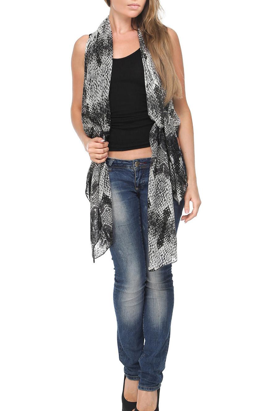 Шарф-жилетШарфы<br>Чудесный шарф - жилет, который можно носить как традиционный шарф, и как жилет, и как капюшон.  Цвет: черный, серый.<br><br>По сезону: Всесезон<br>Размер : UNI<br>Материал: Трикотаж<br>Количество в наличии: 1