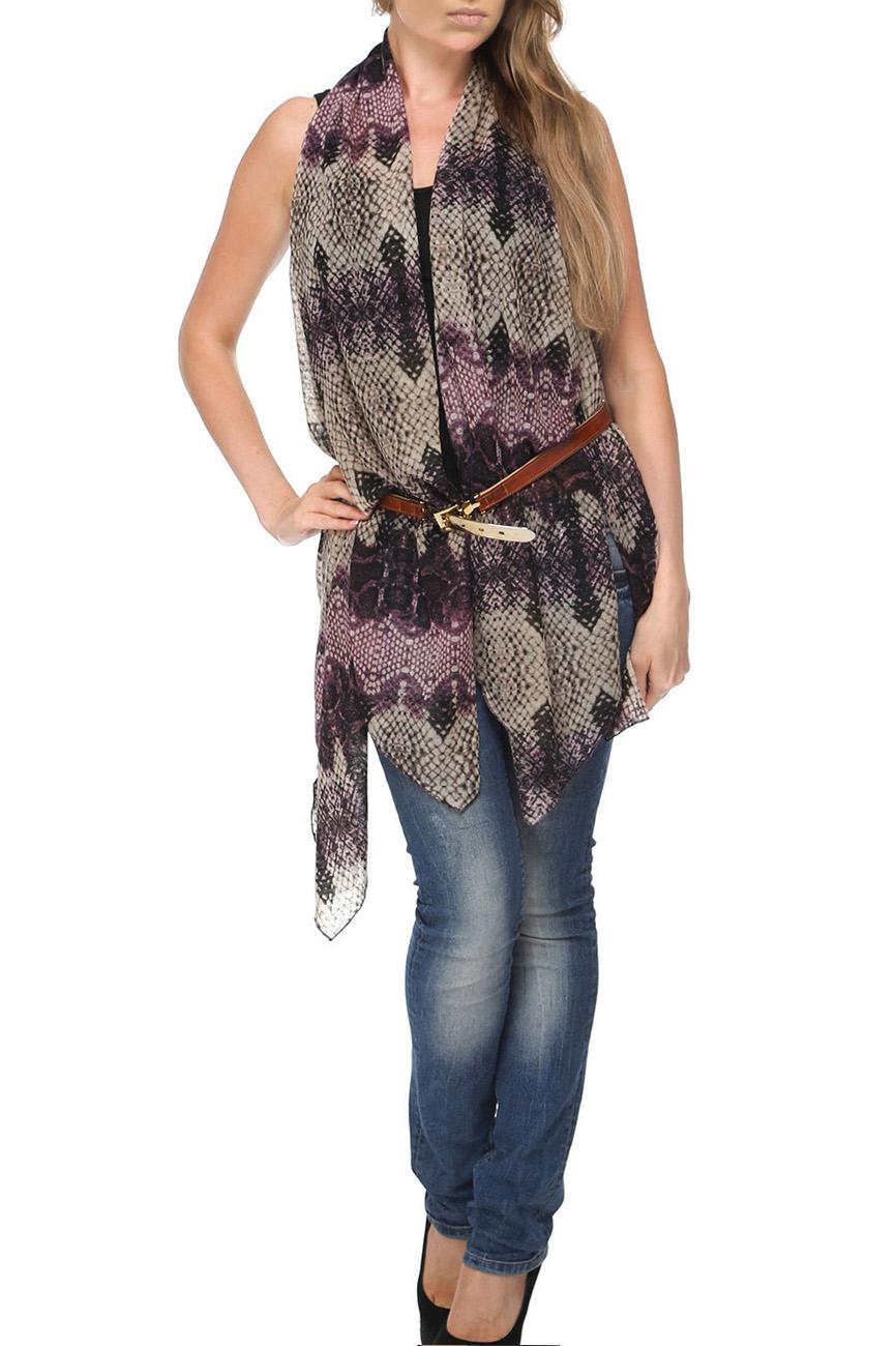 Шарф-жилетШарфы<br>Чудесный шарф - жилет, который можно носить как традиционный шарф, и как жилет, и как капюшон.  Цвет: черный, розовый и др.<br><br>По сезону: Всесезон<br>Размер : UNI<br>Материал: Трикотаж<br>Количество в наличии: 1