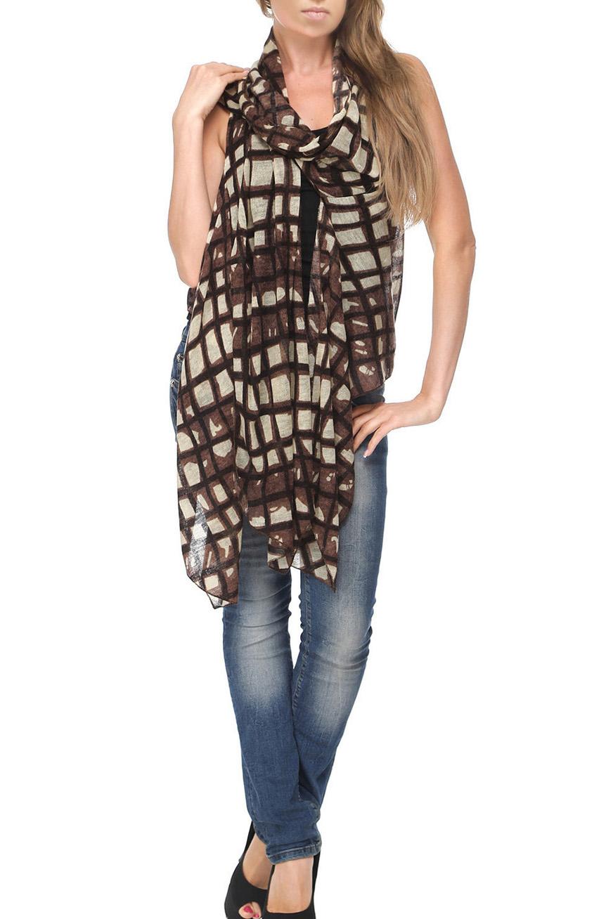 Шарф-жилетШарфы<br>Чудесный шарф - жилет, который можно носить как традиционный шарф, и как жилет, и как капюшон.  Цвет: коричневый, бежевый.<br><br>Размер : UNI<br>Материал: Трикотаж<br>Количество в наличии: 1