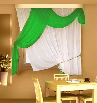 Шторы для кухниДля кухни<br>Шторы придают окну законченный внешний вид, создавая в помещении атмосферу уюта и тепла.  Размеры:  ширина 290 см высота 170 см  Цвет: белый, зеленый<br><br>Карниз: Двухрядный<br>По материалу: Вуаль<br>По рисунку: Однотонные<br>По способу крепления: На крючках<br>По стилю: Классические шторы<br>Размеры: Ниже подоконника<br>Размер : 170*290<br>Материал: Вуаль<br>Количество в наличии: 1