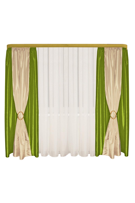 Шторы для комнатыДля комнаты<br>Шторы – это основной элемент интерьера, они всегда в центре внимания, несмотря на богатство мебели. При выборе штор самое первое и, пожалуй, главное – определится с подбором ткани, ее цветом и фактурой.  Шторы для гостинной изготавливаются из более плотных тканей, таких как жакард, тафта, велюр. Они могут дополнятся ламбрекеном со всевозможными декоративными элементами: стразами, бахромой, лентами. В предложенных моделях тюль не входит в комплект.   Размер: 440*250 см.  В изделии использованы цвета: зеленый, бежевый.<br><br>Карниз: Двухрядный<br>По материалу: Тканевые<br>По рисунку: Однотонные<br>По стилю: Классические шторы,Раздвижные шторы<br>Размеры: До пола<br>По сезону: Всесезон<br>Размер : 440*250<br>Материал: Тафта<br>Количество в наличии: 2