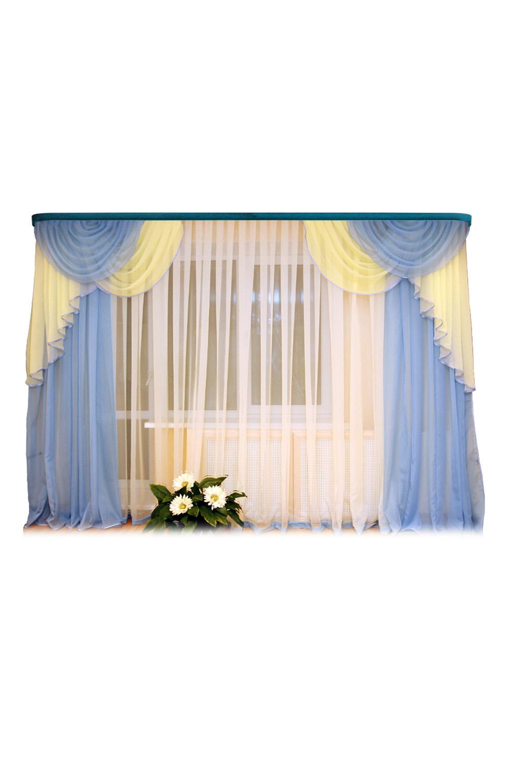 Шторы для комнатыДля комнаты<br>Шторы – это основной элемент интерьера, они всегда в центре внимания, несмотря на богатство мебели. При выборе штор самое первое и, пожалуй, главное – определится с подбором ткани, ее цветом и фактурой.   Шторы для гостинной изготавливаются из более плотных тканей, таких как жакард, тафта, велюр. Они могут дополнятся ламбрекеном со всевозможными декоративными элементами: стразами, бахромой, лентами.  Размер: 280*250 см., тюль 500*250 см., ламбрекен 2шт по 130*130 - регулируется на любую длину карниза.  В изделии использованы цвета: белый, голубой, желтый.<br><br>Карниз: Трехрядный<br>Материал: Тканевые<br>Рисунок: Однотонные<br>Стиль: Классические шторы,Раздвижные шторы<br>Способ крепления: С ламбрекеном<br>Размер: До пола<br>Сезон: Всесезон<br>Размер : 280*250<br>Материал: Тюль<br>Количество в наличии: 2