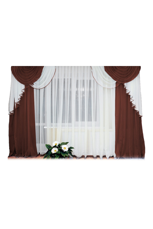 Шторы для комнатыДля комнаты<br>Шторы – это основной элемент интерьера, они всегда в центре внимания, несмотря на богатство мебели. При выборе штор самое первое и, пожалуй, главное – определится с подбором ткани, ее цветом и фактурой.   Шторы для гостинной изготавливаются из более плотных тканей, таких как жакард, тафта, велюр. Они могут дополнятся ламбрекеном со всевозможными декоративными элементами: стразами, бахромой, лентами.  Размер: 280*250 см., тюль 500*250 см., ламбрекен 2шт по 130*130 - регулируется на любую длину карниза.  В изделии использованы цвета: белый, коричневый.<br><br>Карниз: Трехрядный<br>По материалу: Тканевые<br>По рисунку: Однотонные<br>По способу крепления: С ламбрекеном<br>По стилю: Классические шторы,Раздвижные шторы<br>Размеры: До пола<br>По сезону: Всесезон<br>Размер : 280*250<br>Материал: Тюль<br>Количество в наличии: 2