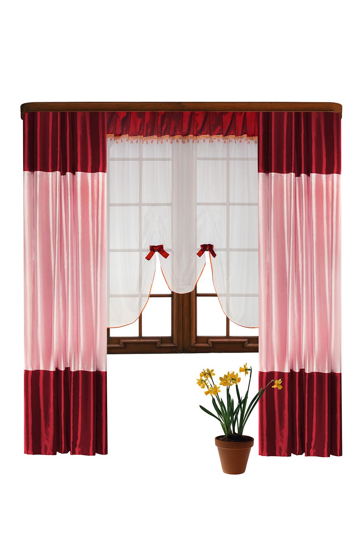 Шторы для комнатыДля комнаты<br>Шторы – это основной элемент интерьера, они всегда в центре внимания, несмотря на богатство мебели. При выборе штор самое первое и, пожалуй, главное – определится с подбором ткани, ее цветом и фактурой.  Шторы для гостинной изготавливаются из более плотных тканей, таких как жакард, тафта, велюр. Они могут дополнятся ламбрекеном со всевозможными декоративными элементами: стразами, бахромой, лентами.  Размер тюлевого полотна: 300*180 см. Размер штор: 440*250 см.  В изделии использованы цвета: красный, розовый, белый.<br><br>Карниз: Трехрядный<br>По материалу: Тканевые<br>По рисунку: Однотонные<br>По стилю: Классические шторы,Раздвижные шторы<br>Размеры: До пола<br>По сезону: Всесезон<br>Размер : 440*250<br>Материал: Тафта<br>Количество в наличии: 2