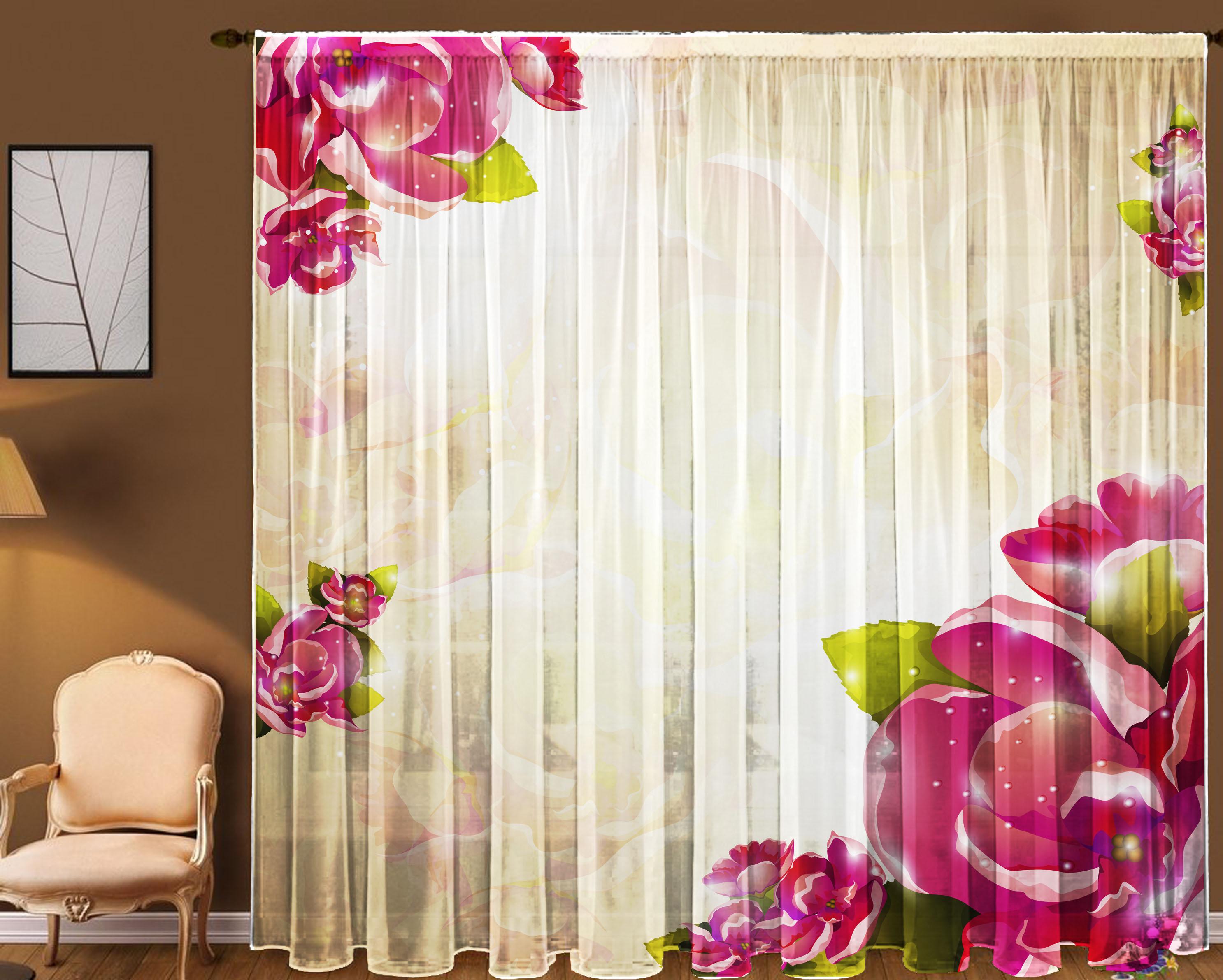 Шторы для комнатыДля комнаты<br>Яркие шторы для комнаты:  В комплекте 2 полотна: Длина 145 см +/- 5 см Высота 270 см +/- 5 см  Цвет: белый, розовый, зеленый<br><br>По стилю: Классические шторы,Раздвижные шторы<br>По материалу: Вуаль<br>По рисунку: Растительные мотивы,С принтом (печатью),Цветные,Цветочные<br>Карниз: Однорядный<br>Размеры: До пола<br>Размер: 290*270<br>Материал: 100% полиэстер<br>Количество в наличии: 1