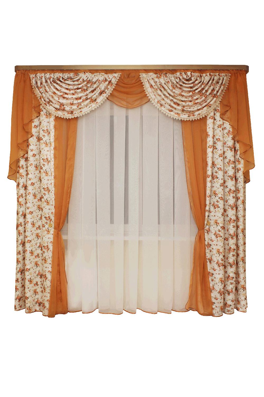 Шторы для комнатыДля комнаты<br>Шторы – это основной элемент интерьера, они всегда в центре внимания, несмотря на богатство мебели. При выборе штор самое первое и, пожалуй, главное – определится с подбором ткани, ее цветом и фактурой.   Шторы для гостинной изготавливаются из более плотных тканей, таких как жакард, тафта, велюр. Они могут дополнятся ламбрекеном со всевозможными декоративными элементами: стразами, бахромой, лентами. В предложенных моделях тюль не входит в комплект.   Размер: 440*250 см., ламбрекен 300 см.  В изделии использованы цвета: бежевый, оранжевый.<br><br>Карниз: Двухрядный<br>По материалу: Портьерные ткани<br>По рисунку: Цветные,Цветочные,С принтом<br>По стилю: Классические шторы,Раздвижные шторы<br>Размеры: До пола<br>По сезону: Всесезон<br>Размер : 440*250<br>Материал: Портьерные ткани<br>Количество в наличии: 2