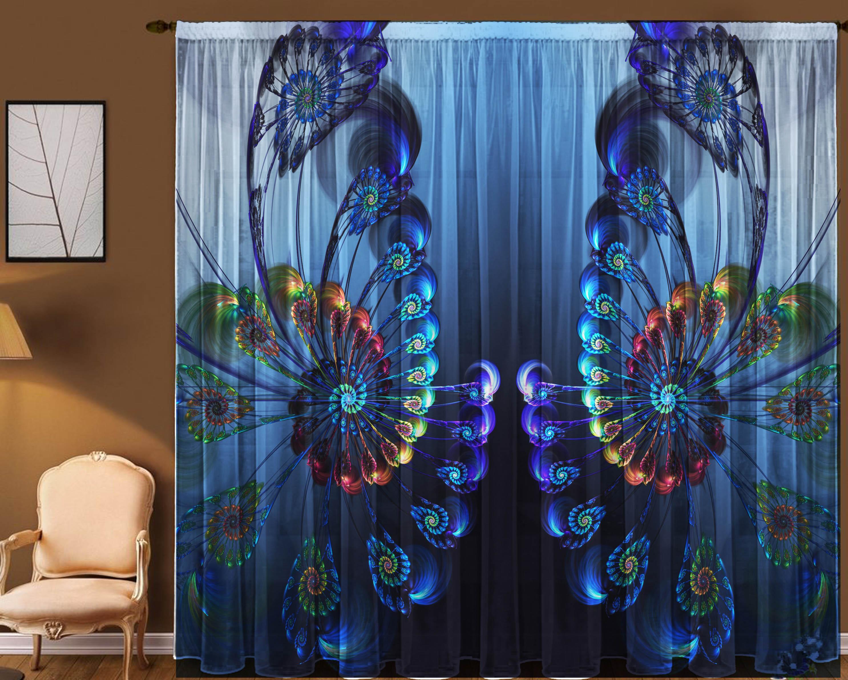 Шторы для комнатыДля комнаты<br>Чудесная тюль для комнаты, состоящая из двух полотен:  В комплекте: 2 полотна размером: 145 * 270 ± 5 см   Цвет: синий, мультицвет<br><br>Карниз: Однорядный<br>По материалу: Вуаль<br>По рисунку: Абстракция,Цветные,С принтом<br>По стилю: Классические шторы,Раздвижные шторы<br>Размеры: До пола<br>Размер : 290*270<br>Материал: Вуаль<br>Количество в наличии: 1