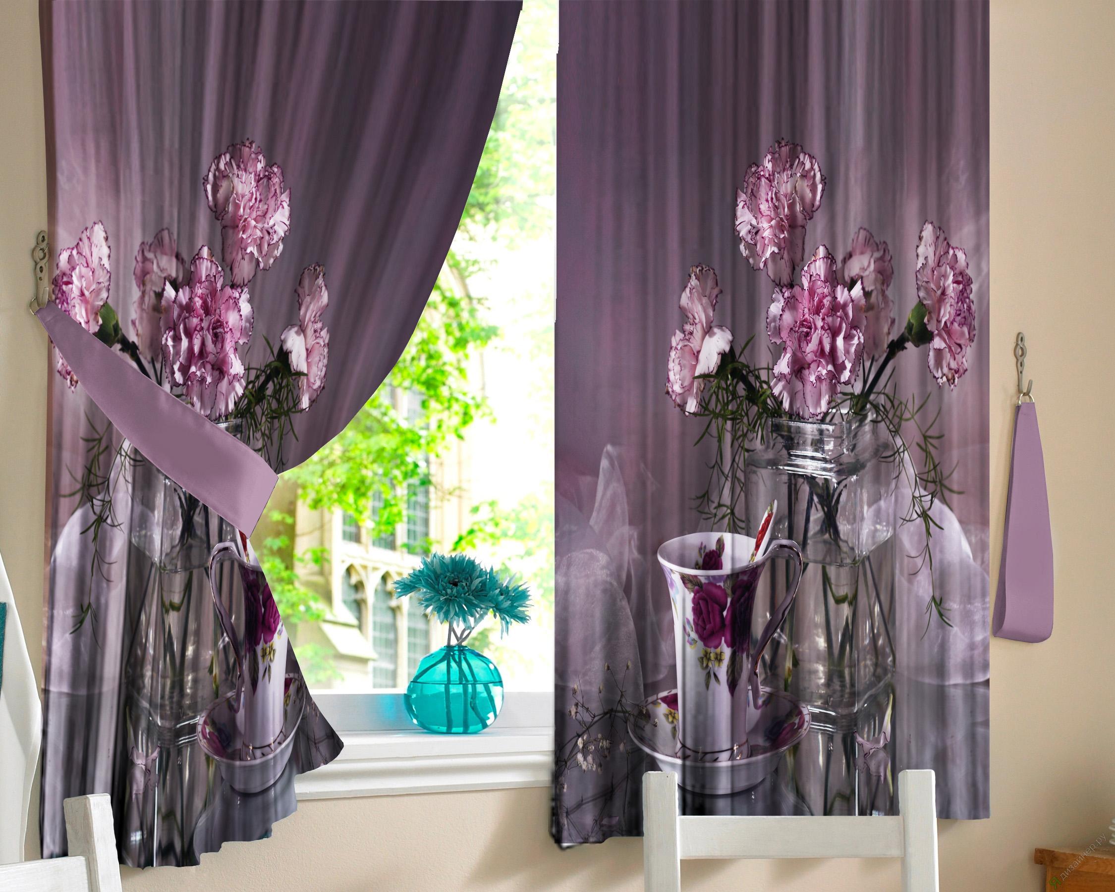 Шторы для кухниДля кухни<br>Яркие шторы для кухни  В комплекте 2 полотна: Длина 145 см.+/- 5 см Высота 160 см.+/- 5 см  Цвет: сиреневый, фиолетовый, розовый<br><br>Карниз: Однорядный<br>По материалу: Портьерные ткани<br>По рисунку: Растительные мотивы,Цветные,Цветочные,С принтом<br>По стилю: Классические шторы,Раздвижные шторы<br>Размеры: Ниже подоконника<br>Размер : 290*160<br>Материал: Габардин<br>Количество в наличии: 1