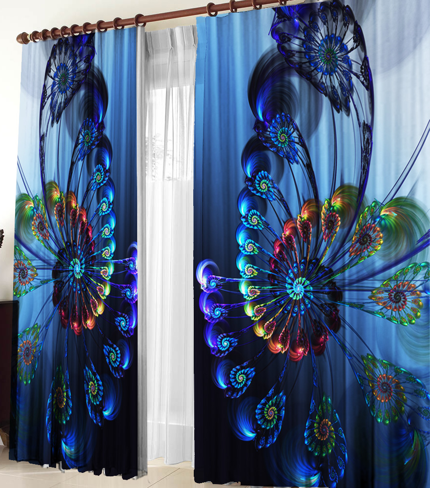 Шторы для комнатыДля комнаты<br>Шторы для комнаты:  В комплекте 2 полотна: Длина 145 см +/- 5 см Высота 270 см +/- 5 см  Цвет: синий, мультицвет<br><br>Карниз: Однорядный<br>По материалу: Портьерные ткани<br>По рисунку: С принтом (печатью),Цветные<br>По стилю: Классические шторы,Раздвижные шторы<br>Размеры: До пола<br>Размер : 290*270<br>Материал: Вуаль<br>Количество в наличии: 2