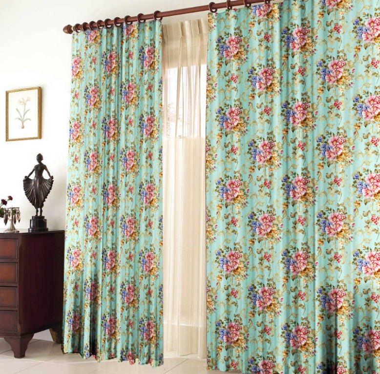 Шторы для комнатыДля комнаты<br>Шторы для комнаты:  В комплекте 2 полотна: 2 полотна размером: 145 * 270 ± 5 см  Тюль в комплект не входит  Цвет: мятный, мультицвет<br><br>Карниз: Однорядный<br>По материалу: Портьерные ткани<br>По рисунку: Растительные мотивы,С принтом (печатью),Цветные,Цветочные<br>По стилю: Классические шторы,Раздвижные шторы<br>Размеры: До пола<br>Размер : 290*270<br>Материал: Вуаль<br>Количество в наличии: 2