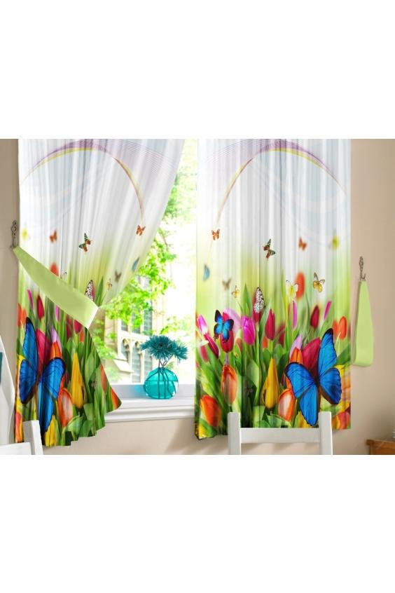 Шторы для кухниДля кухни<br>Яркие шторы для кухни  В комплекте 2 полотна: Длина 145 см.+/- 5 см Высота 160 см.+/- 5 см  Цвет: белый, зеленый<br><br>Карниз: Однорядный<br>По материалу: Тканевые<br>По рисунку: Растительные мотивы,С принтом (печатью),Цветные,Цветочные<br>По стилю: Классические шторы<br>Размеры: До подоконника<br>Размер : 290*160<br>Материал: Габардин<br>Количество в наличии: 1