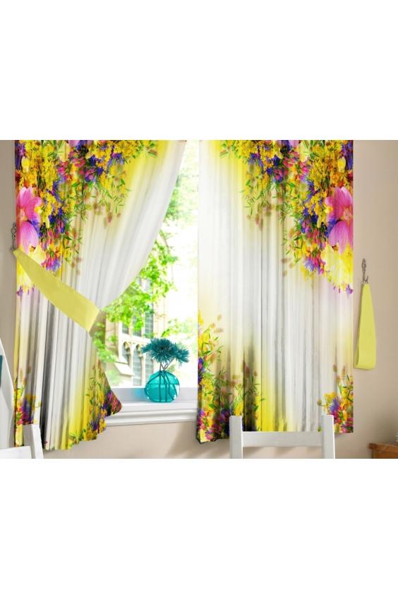 Шторы для кухниДля кухни<br>Яркие шторы для кухни  В комплекте 2 полотна: Длина 145 см.+/- 5 см Высота 160 см.+/- 5 см  Цвет: белый, желтый, розовый, зеленый<br><br>Карниз: Однорядный<br>По материалу: Тканевые<br>По рисунку: Растительные мотивы,С принтом (печатью),Цветные,Цветочные<br>По стилю: Классические шторы<br>Размеры: До подоконника<br>Размер : 290*160<br>Материал: Габардин<br>Количество в наличии: 2