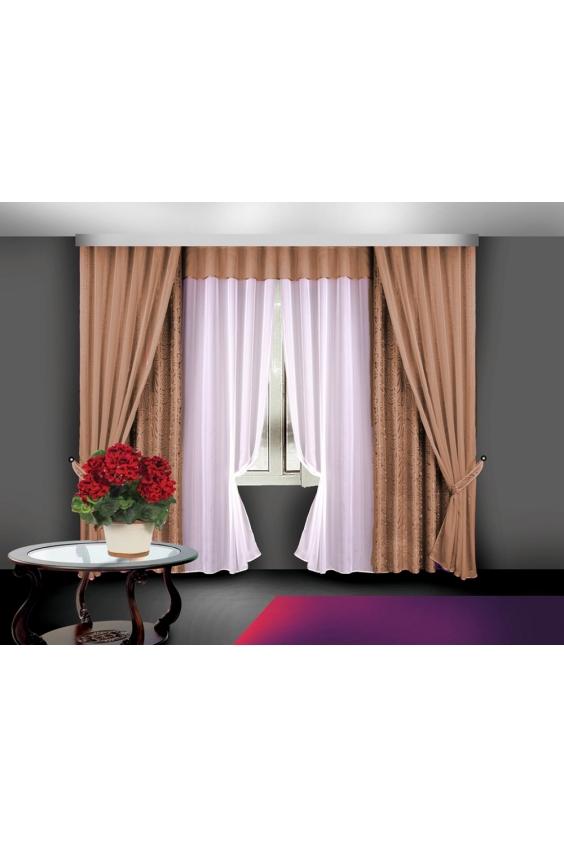 Шторы для комнатыДля комнаты<br>Чудесные шторы для комнаты. Украсте свой дом с нашими изделиями  Цвет: коричневый, белый.  В комплект входят: Шторы 140*250 - 2 шт Тюль 150*250 - 2 шт Декоративные шторы 140*250 - 2 шт + 2 подхвата.<br><br>Карниз: Трехрядный<br>По материалу: Портьерные ткани,Тканевые<br>По рисунку: Однотонные<br>По стилю: Классические шторы,Раздвижные шторы<br>Размеры: До пола<br>Размер : 280*250<br>Материал: Жаккард<br>Количество в наличии: 1