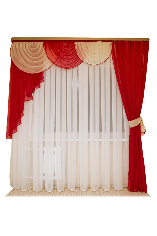 Шторы для комнатыДля комнаты<br>Шторы – это основной элемент интерьера, они всегда в центре внимания, несмотря на богатство мебели. При выборе штор самое первое и, пожалуй, главное – определится с подбором ткани, ее цветом и фактурой.   Шторы для гостинной изготавливаются из более плотных тканей, таких как жакард, тафта, велюр. Они могут дополнятся ламбрекеном со всевозможными декоративными элементами: стразами, бахромой, лентами.   Размер: ламбрекен 150*170 см., тюль 600*250 см., штора 1 шт. 280*250 см.  В изделии использованы цвета: белый, красный.<br><br>Карниз: Двухрядный<br>По материалу: Органза<br>По рисунку: Однотонные<br>По способу крепления: С ламбрекеном<br>По стилю: Классические шторы<br>Размеры: До пола<br>По сезону: Всесезон<br>Отделка края: С лентами<br>Размер : 280*250<br>Материал: Органза<br>Количество в наличии: 2