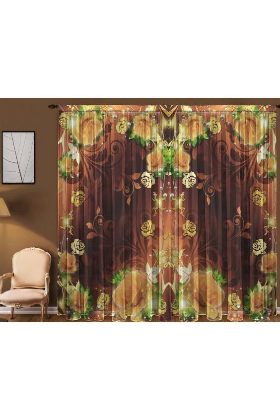 Шторы для комнатыДля комнаты<br>Чудесная тюль для комнаты, состоящая из двух полотен. Украсте свой дом с нашими изделиями  Цвет: коричневый, желтый.  В комплект входят: 2 полотна размером: 145 * 270 ± 5 см<br><br>Карниз: Однорядный<br>По материалу: Вуаль<br>По рисунку: Растительные мотивы,Цветные,Цветочные,С принтом<br>По стилю: Классические шторы<br>Размеры: До пола<br>Размер : 290*270<br>Материал: Вуаль<br>Количество в наличии: 2