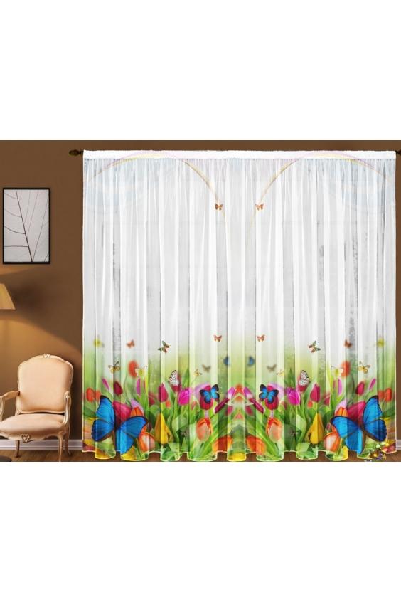 Шторы для комнатыДля комнаты<br>Чудесная тюль для комнаты, состоящая из двух полотен. Украсте свой дом с нашими изделиями  Цвет: белый, мультицвет.  В комплект входят: 2 полотна размером: 145 * 270 ± 5 см<br><br>Карниз: Однорядный<br>По материалу: Вуаль<br>По рисунку: Бабочки,Растительные мотивы,Цветные,Цветочные,С принтом<br>По стилю: Классические шторы<br>Размеры: До пола<br>Размер : 290*270<br>Материал: Вуаль<br>Количество в наличии: 1