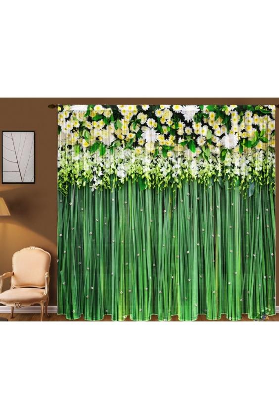 Шторы для комнатыДля комнаты<br>Чудесная тюль для комнаты, состоящая из двух полотен. Украсте свой дом с нашими изделиями  Цвет: зеленый, белый.  В комплект входят: 2 полотна размером: 145 * 270 ± 5 см<br><br>Карниз: Однорядный<br>По материалу: Вуаль<br>По рисунку: Растительные мотивы,С принтом (печатью),Цветные,Цветочные<br>По стилю: Классические шторы<br>Размеры: До пола<br>Размер : 290*270<br>Материал: Вуаль<br>Количество в наличии: 2