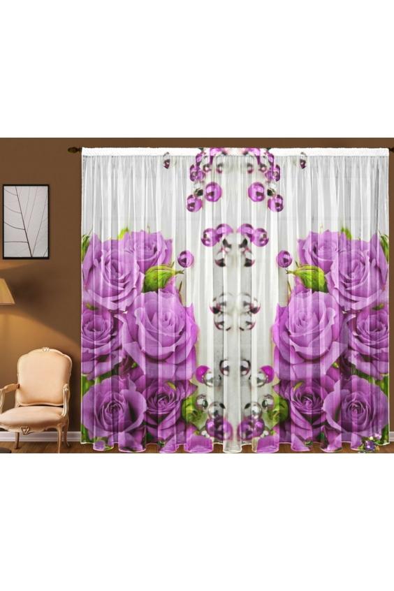 Шторы для комнатыДля комнаты<br>Чудесная тюль для комнаты, состоящая из двух полотен. Украсте свой дом с нашими изделиями  Цвет: белый, сиреневый, розовый.  В комплект входят: 2 полотна размером: 145 * 270 ± 5 см<br><br>Карниз: Однорядный<br>По материалу: Вуаль<br>По рисунку: Растительные мотивы,С принтом (печатью),Цветные,Цветочные<br>По стилю: Классические шторы<br>Размеры: До пола<br>Размер : 290*270<br>Материал: Вуаль<br>Количество в наличии: 2