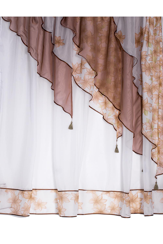 КомплектДля кухни<br>Шторы придают окну законченный внешний вид, создавая в помещении атмосферу уюта и тепла.  Размеры:  ширина 280 см высота 180 см  В изделии использованы цвета: коричневый, белый, бежевый<br><br>Карниз: Однорядный<br>Отделка края: Лентами<br>По материалу: Вуаль<br>По рисунку: Растительные мотивы,С принтом (печатью),Цветные,Цветочные<br>По стилю: Классические шторы<br>Размеры: До подоконника<br>Размер : 180*280<br>Материал: Вуаль<br>Количество в наличии: 1