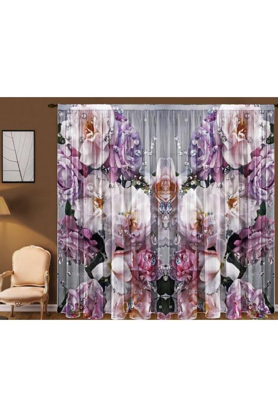 Шторы для комнатыДля комнаты<br>Чудесная тюль для комнаты, состоящая из двух полотен. Украсте свой дом с нашими изделиями  Цвет: розовый, серый и др.  В комплект входят: 2 полотна размером: 145 * 270 ± 5 см<br><br>Карниз: Однорядный<br>По материалу: Вуаль<br>По рисунку: Растительные мотивы,С принтом (печатью),Цветные,Цветочные<br>По стилю: Классические шторы<br>Размеры: До пола<br>Размер : 290*270<br>Материал: Вуаль<br>Количество в наличии: 1
