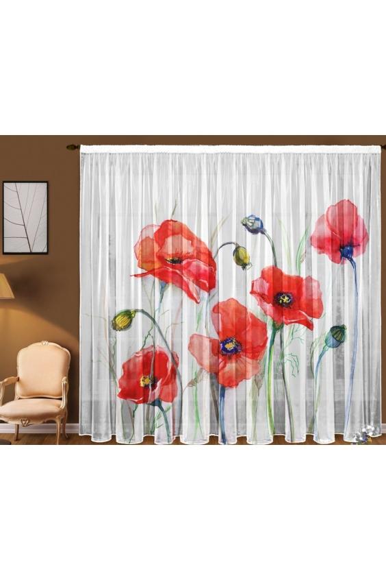 Шторы для комнатыДля комнаты<br>Чудесная тюль для комнаты, состоящая из двух полотен. Украсте свой дом с нашими изделиями  Цвет: красный, белый.  В комплект входят: 2 полотна размером: 145 * 270 ± 5 см<br><br>Карниз: Однорядный<br>По материалу: Вуаль<br>По рисунку: Растительные мотивы,С принтом (печатью),Цветные,Цветочные<br>По стилю: Классические шторы<br>Размеры: До пола<br>Размер : 290*270<br>Материал: Вуаль<br>Количество в наличии: 1