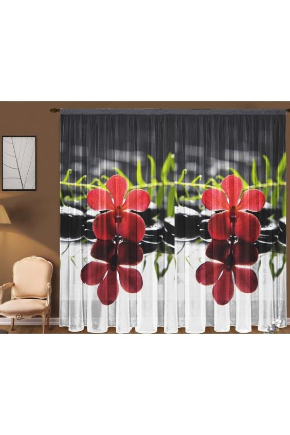 Шторы для комнатыДля комнаты<br>Чудесная тюль для комнаты, состоящая из двух полотен. Украсте свой дом с нашими изделиями  Цвет: красный, белый, черный.  В комплект входят: 2 полотна размером: 145 * 270 ± 5 см<br><br>Карниз: Однорядный<br>По материалу: Вуаль<br>По рисунку: Растительные мотивы,С принтом (печатью),Цветные,Цветочные<br>По стилю: Классические шторы<br>Размеры: До пола<br>Размер : 290*270<br>Материал: Вуаль<br>Количество в наличии: 1