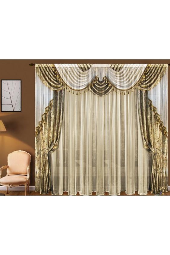 Шторы для комнатыДля комнаты<br>Чудесные шторы для комнаты. Украсте свой дом с нашими изделиями  Цвет: белый, желто-золотой.  В комплект входят: Тюль, 1,45 * 2,70 ± 5 см * 2 полотна<br><br>Карниз: Однорядный<br>По материалу: Вуаль<br>По рисунку: Цветные,С принтом<br>По стилю: Классические шторы<br>Размеры: До пола<br>Размер : 290*270<br>Материал: Вуаль<br>Количество в наличии: 1