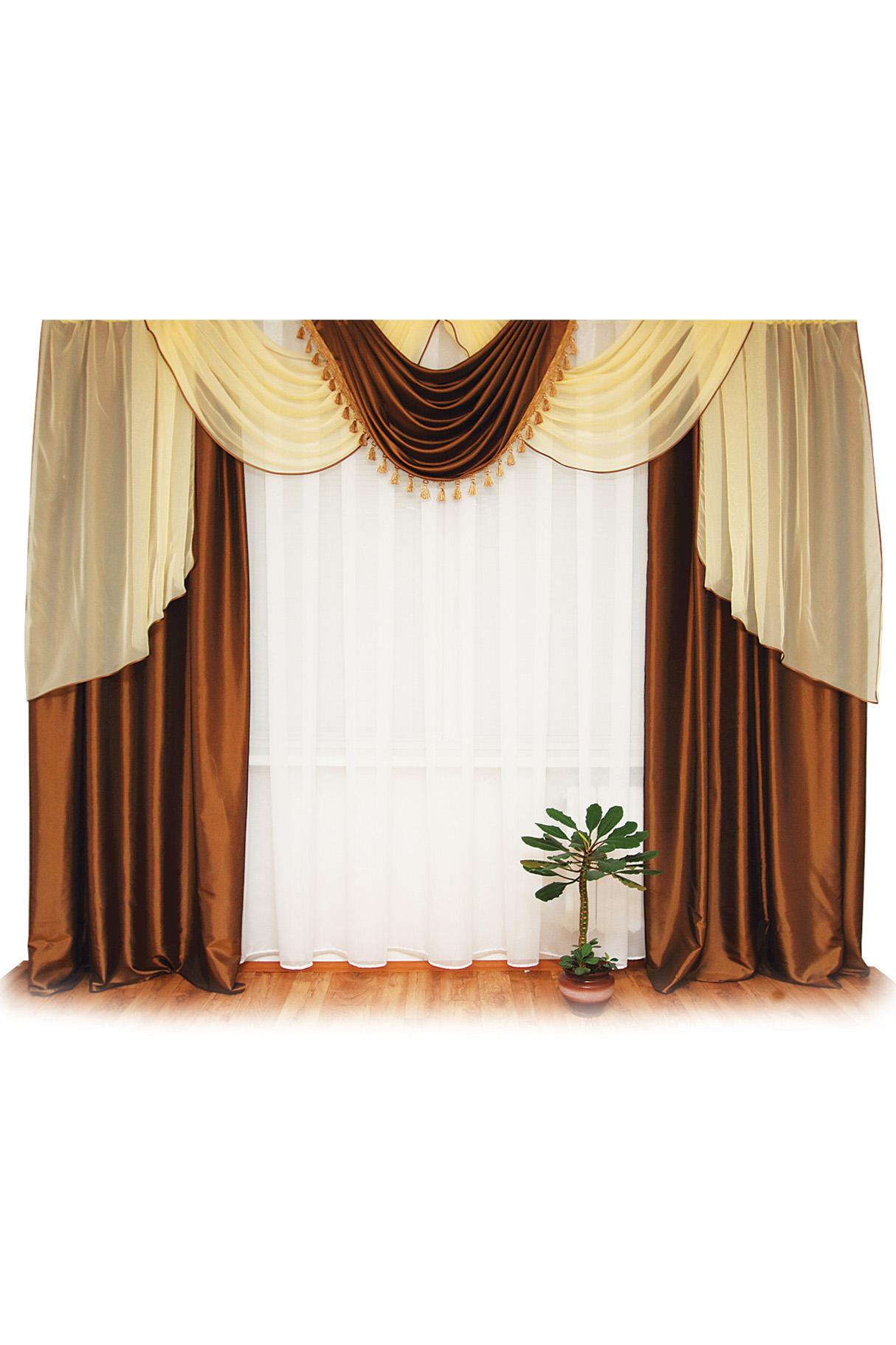 Шторы для комнатыДля комнаты<br>Шторы – это основной элемент интерьера, они всегда в центре внимания, несмотря на богатство мебели. При выборе штор самое первое и, пожалуй, главное – определится с подбором ткани, ее цветом и фактурой.  Шторы для гостинной изготавливаются из более плотных тканей, таких как жакард, тафта, велюр. Они могут дополнятся ламбрекеном со всевозможными декоративными элементами: стразами, бахромой, лентами. В предложенных моделях тюль не входит в комплект.   Размер: 400*250 см., ламбрекен 400 см.  В изделии использованы цвета: коричневый, желтый.<br><br>Карниз: Двухрядный<br>Отделка края: Лентами<br>По материалу: Тканевые<br>По рисунку: Однотонные<br>По способу крепления: С ламбрекеном<br>По стилю: Классические шторы,Раздвижные шторы<br>Размеры: До пола<br>По сезону: Всесезон<br>Размер : 400*250<br>Материал: Тафта<br>Количество в наличии: 2