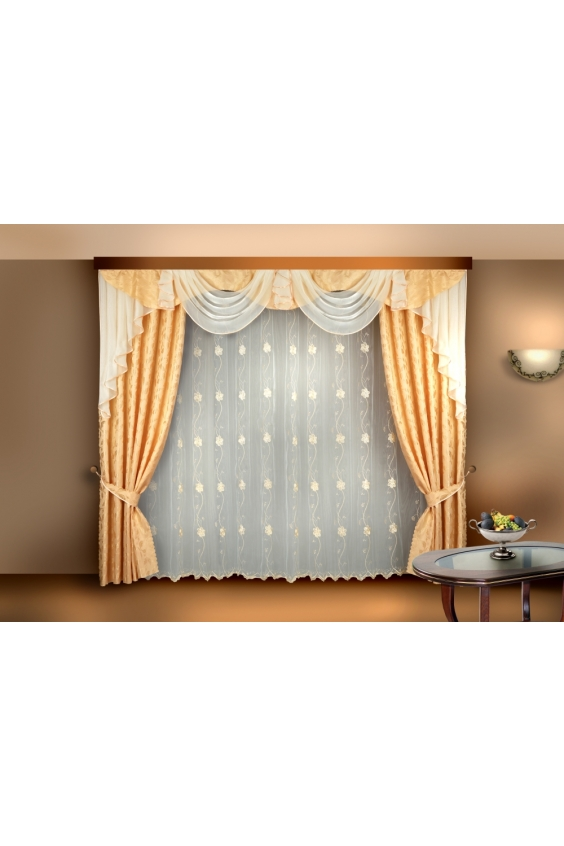 Шторы для комнатыДля комнаты<br>Чудесные шторы для комнаты. Украсте свой дом с нашими изделиями  Цвет: бежево-желтый, белый.  В комплект входят: Тюль 300*250 см 2 портьеры 140*250 см Ламбрекен 300*100 см<br><br>Карниз: Трехрядный<br>По материалу: Портьерные ткани,Тканевые<br>По рисунку: Однотонные<br>По стилю: Классические шторы,Раздвижные шторы<br>Размеры: До пола<br>Размер : 280*250<br>Материал: Портьерные ткани<br>Количество в наличии: 2