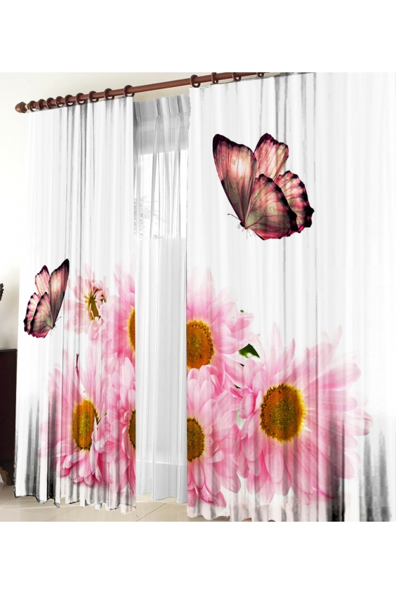 Шторы для комнатыДля комнаты<br>Чудесные шторы для комнаты. Украсте свой дом с нашими изделиями  Цвет: белый, розовый.  В комплект входят: 2 полотна размером: 145 * 270 ± 5 см  Тюль в комплект не входит.   Крепление: Шторная лента (на обычный карниз)<br><br>Карниз: Однорядный<br>По материалу: Тканевые<br>По рисунку: Бабочки,Растительные мотивы,С принтом (печатью),Цветные,Цветочные<br>По стилю: Классические шторы,Раздвижные шторы<br>Размеры: До пола<br>Размер : 290*270<br>Материал: Габардин<br>Количество в наличии: 1